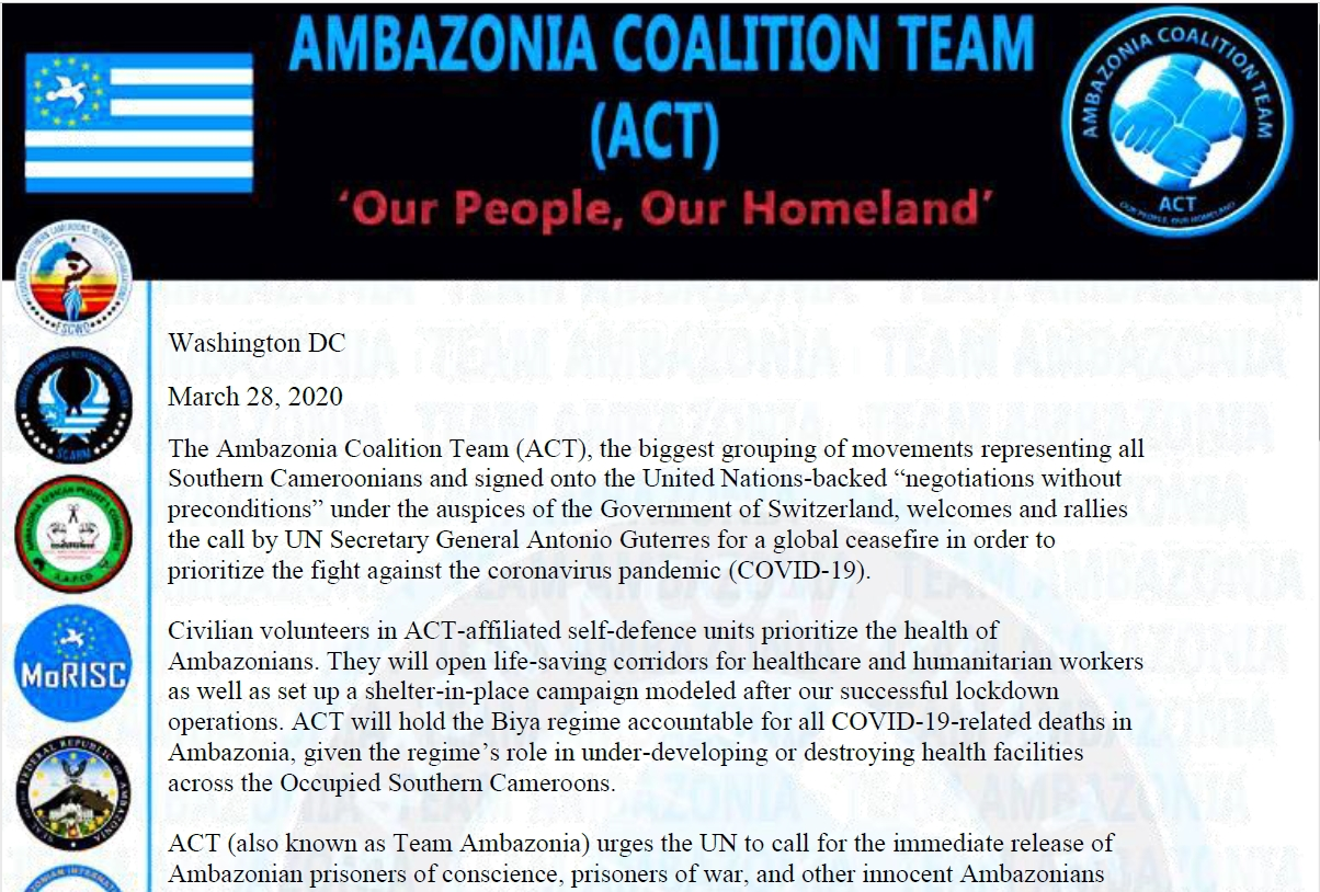ACT's (Ambazonian Coalition Team) Statement on Global Cease Fire