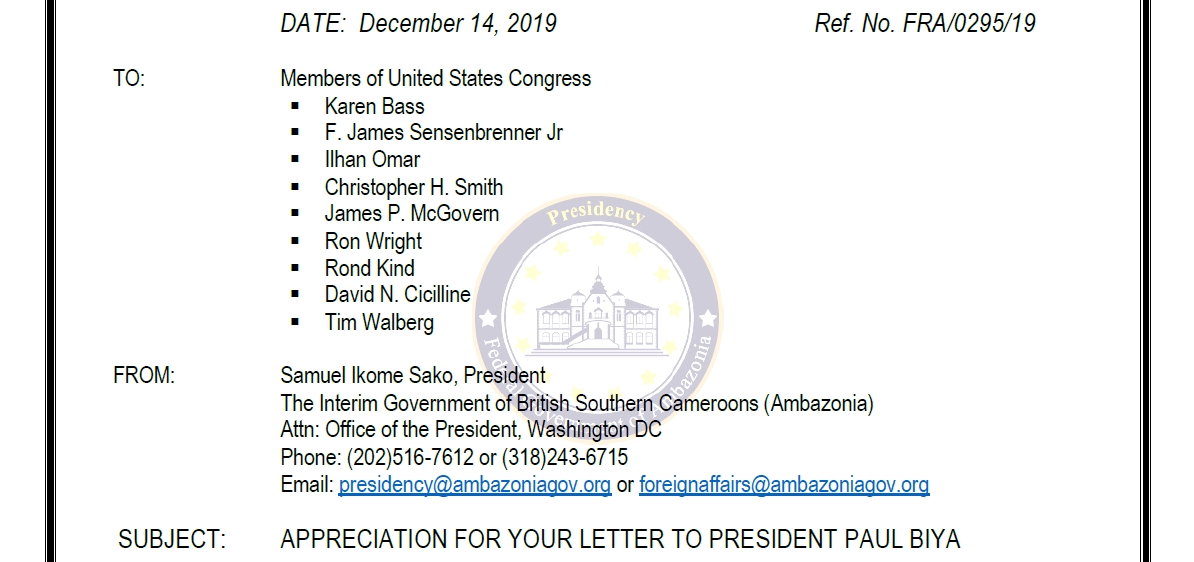 Deep appreciation from President Sako Ikome to members of th US Congress for their letter to Paul Biya dated 12th December 2019