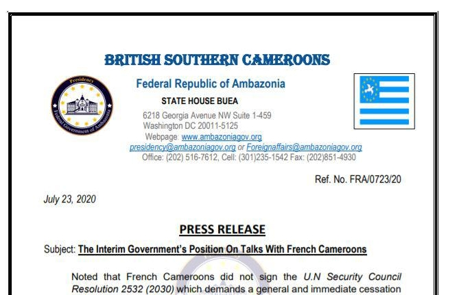 The Interim Goverment's Position On Talks with French Cameroon